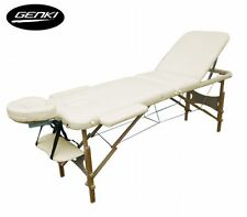 NEW Portable Genki 3-Section Foldable Massage Table Chair Bed Cream w/ Carry Bag