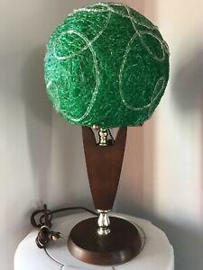 VTG MCM FIBERGLASS SPAGHETTI LUICTE GREEN SHADE TEAK TABLE LAMP CEILING 1960s