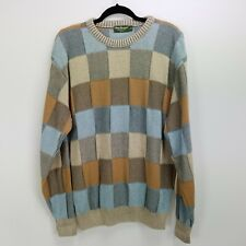 Vintage 90s Men's Norm Thompson Sweater Size M Blue Tan Gray Checkered