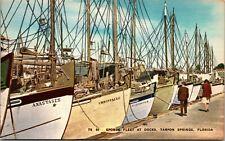 Vtg Tarpon Springs Florida Sponge Fleet Harbor Old Nautical UNPOSTED POSTCARD