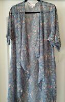 LuLaRoe Shirley Kimono Blue Pink Floral Paisley Pattern Medium NWT