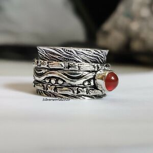 Carnelian Spinner Ring 925 Sterling Silver Plated Handmade Ring Size 6.5 P555