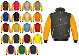 Original American Varsity Letterman College Baseball Real Leather Hoodie Jacket