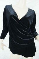 QUEENSPARK black velvet v-neck crossover long sleeve top size S EUC