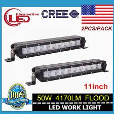 """2X 11"""" 50W Single Row CREE Slim Flood LED Offroad Light Bar Jeep Boat 4X4 Truck"""