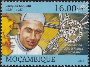 JACQUES ANQUETIL Tour de France Winner Bicycle/Cycling Stamp (2013 Mozambique)
