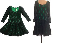 RICHILENE 60s  Kelly Green & Black Lace Drop-Waist Cocktail Dress- Plus Siz