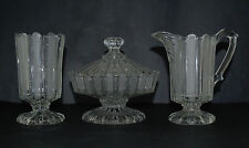 BAKEWELL & PEARS GLASS FROSTED RIBBON CREAMER, SUGAR BOWL ANS SPOONER