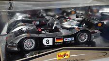 1/18 MAISTO GT RACING 1999 AUDI R8 LE MANS #8 SILVER & BLACK bd