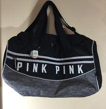 NWT Victorias Secret Pink Duffle Bag, Travel Bag, Gym Bag, Weekender Gray Black