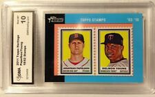 2011 TOPPS HERITAGE PAPELBON/YOUNG 18/62 STAMPS - RARE / Graded Gem MT 10