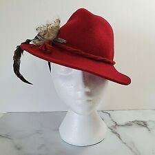 Geiger Austria Red Wool Felt Gangster Ladies Hat Feathers VTG 70s Disco Clubwear