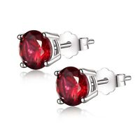 Created Ruby 6mm Round Cut 925 Sterling Silver Stud Earrings Gifts for Women