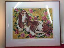 Vtg Lynlie Orme Jessup Hermann Framed Silkscreen Basset Hound Bed Of Roses 1/1