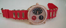 Designer Red/Rose Gold 3 Working Time Zone Fashion Stone Bling Hip Hop Watch