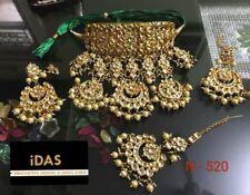 Ethnic Gold Plated Kundan Meenakari Jewelry Cream Pearl Beads Necklace Sets-