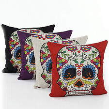 UK Mexican Day of the Dead Sugar Skull Linen Pillow Case Cushion Cover