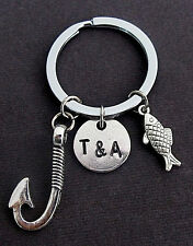 Fish Hook Keychain with Couples Two Initials Keychain, Anniversary Gift