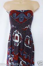 NEXT BNWT summer sun bandeau navy red floral print side pockets maxi dress 6/8
