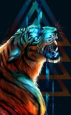 Abstract Tiger - Digital Animal Modern Wall Art Poster & Canvas Pictures