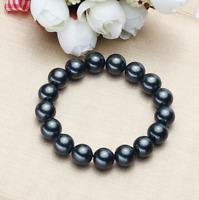 shell pearl bracelet, 12 mm schwarz Muschelkernperlen Stretch-Armband