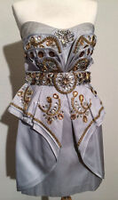 NWT $3k temperley london gray silver gold beaded cocktail mini corry dress 6