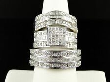 14K White Gold Over Men Women His Her Diamond Trio Ring Engagement Bridal Set