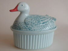 Pretty Vintage Blue Duck Covered Lidded Dish (Liver Pate)