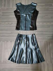 Handmade Latex Cyberpunk Black and Metallic Blue Top and Skirt with Zipper