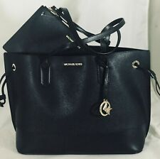 NWT Michael Kors TRISTA Large Drawstring Tote Black Leather Bag with Pouch