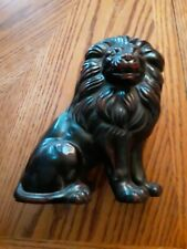 Ceramic Vernissage Hand Painted Fitz & Floyd Black Red Lion Statue Free Shipping