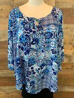 New~$50~C.D. DANIELS Women's 2X Plus Blue & White-Floral CAPE-TOP & TANK Blouse