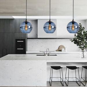 Glass Lamp Blue Chandelier Lighting Kitchen Pendant Light Modern Ceiling Lights