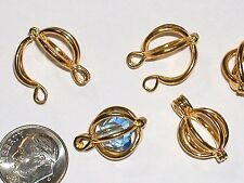 1pc round golden egg cage Pendant metal locket findings small necklace charm NEW