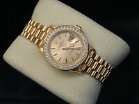 Rolex Datejust President Ladies Solid 18K Yellow Gold Watch Diamond Bezel 69178