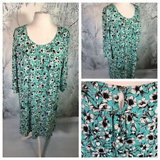 SIMPLE & CHIC Ladies Turquoise Dress Size 22/24 Floral Stretchy Smart NEW NWT