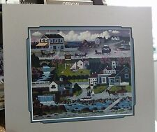 CHARLES WYSOCKI MATTED IMAGE WATERFALLS WITCH'S BAY INN BOATS OCEANSIDE