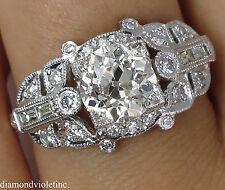 1.66CT ANTIQUE VINTAGE DECO OLD EURO DIAMOND ENGAGEMENT WEDDING RING PLAT EGL US