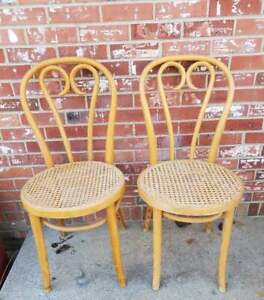 2 Vintage Bentwood Cafe Chairs Thonet Style Bistro Cane Seat #4