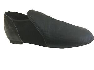 Leather Black Jazz Modern Dance Shoes Slip on Split Sole