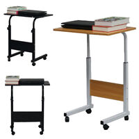 Portable Rolling Sofa Bed Side Table Laptop Desk TV Tray Stand Adjustable Height