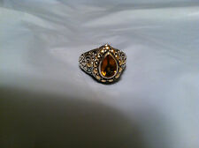 SAMUEL B BENHAM BJC 18K STERLING SILVER CITRINE DOT RING SIZE 8 HEAVY 9.1 GRAMS