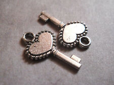 10 Key Charms Antique Silver Tone Heart Steampunk Supplies 2 sided