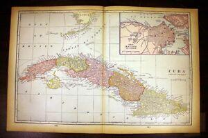 "Cuba Havana Harbor Antique Color Map 1901 Cram's 14½"" x 22"""