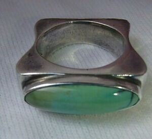 UNIQUE CLAUDIA AGUDELO EXEX STERLING SILVER TURQUOISE RING SIZE 6  /  7.8 gm