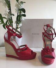 BALENCIAGA Shoes Red Leather Peep Toe Shoes Heels Wedges EU39 Uk6 £450 NEW BOXED