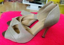 Wallis Dorado Pálido Sandalias de Taco Alto Punta Abierta Zapatos Uk Size 6 Inmaculada