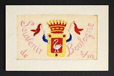 WW1 Silk Postcard Swan Bird Boulogne France Red Lane Limpsfield Oxted Surrey RH8