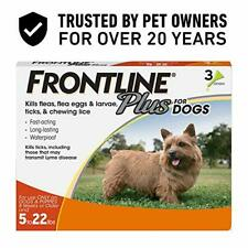 Frontline Plus Flea and Tick Treatment for Dogs (Small Dog, 5-22 Pounds)