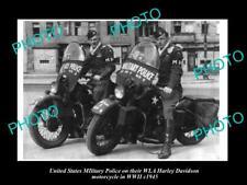 POSTCARD SIZE PHOTO OF USA MILITARY POLICE HARLEY DAVIDSON WLA MOTORCYCLE c1945